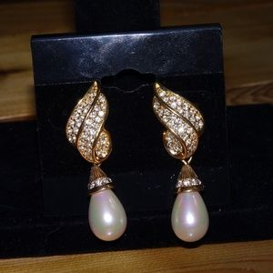 Gold Dangly Earrings With Rhinestones and Pearls